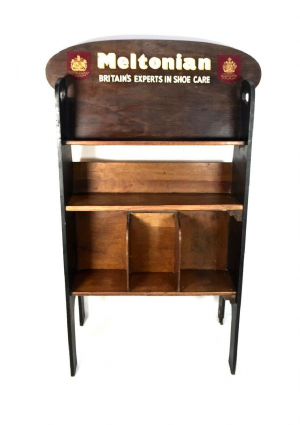 Antique Advertising - Meltonian Wax Shoe Shine Wooden Shop Display Cabinet Unit